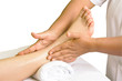 foot massage, spa foot oil treatment on white background