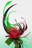 Red and green sugar sculpture with chocolate