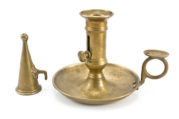 Old brass candlestick with lid