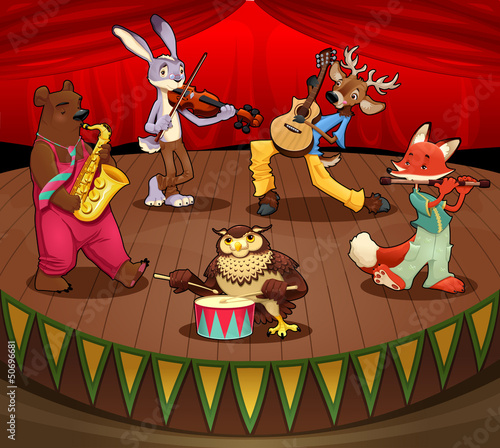 Musician animals on stage.