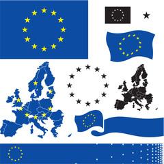 EU flag. European union countries map.