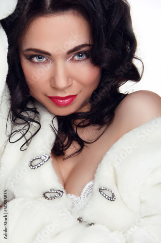 Portrait of beautiful sexy woman model with makeup and romantic