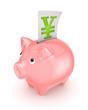Piggy bank and symbol of yen.