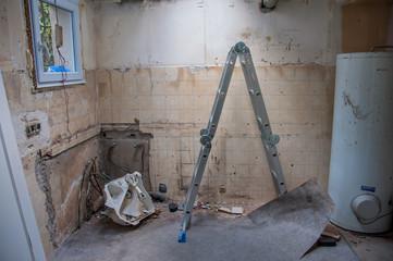 chantier démolition cuisine construction