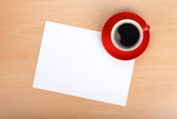 Fototapety Blank paper and red coffee cup