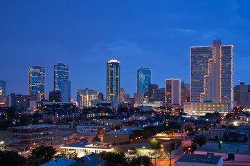 Skyline of Fort Worth Texas at night