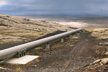 Industrial Pipes at a Geothermal Station in Iceland
