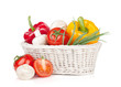 Fresh vegetables and mushrooms in basket