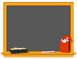 Retro blackboard, wood frame, eraser, chalk box, copy space