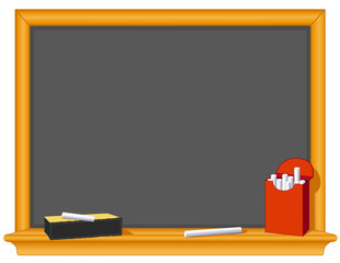 Retro blackboard, wood frame, eraser, chalk box, copy space