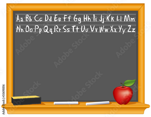 Retro blackboard, wood frame, eraser, chalk, apple, copy space
