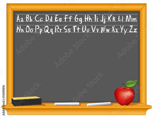 Retro blackboard, wood frame, eraser, chalk, apple, copy space