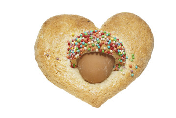sweet heart-shaped biscuit with egg