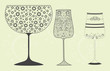 Holiday wine glasses with decorative pattern