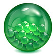 glass ball of  green color with little balls inwardly