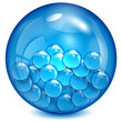 glass ball of blue color with little balls inwardly
