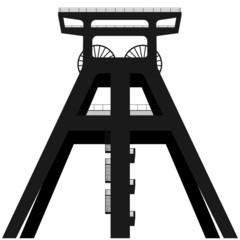 Headframe vector silhouette. Coal mining