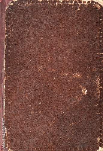 Old book cover texture, brown leather and paper