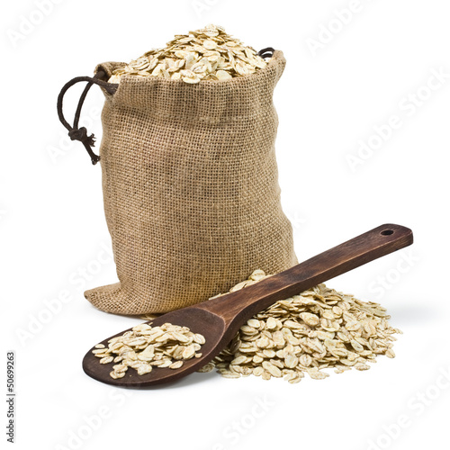 bag of oats and a wooden spoon