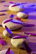 white stones e purple petals vertical