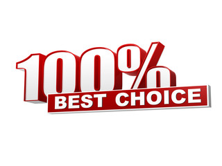 100 percentages best choice red white banner - letters and block