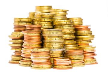 Viele Stapel mit Münzen hintereinander