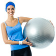Cheerful smiling woman with fitball, over white