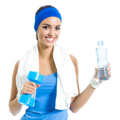 Woman with dumbbell and water, isolated