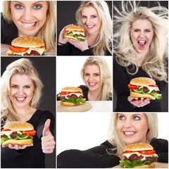 Burger und hübsche Frau Collage