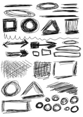 Set hand drawn shapes, circle, square, triangle, line