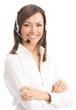 Leinwandbild Motiv Support phone operator in headset, isolated on white
