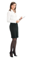 Businesswoman with clipboard writing, isolated