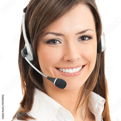 Portrait of support phone operator, on white