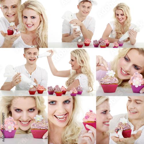 Cupcake und Pärchen Collage