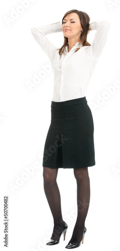 Young businesswoman with closed eyes, on white