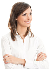 Portrait of young happy smiling businesswoman