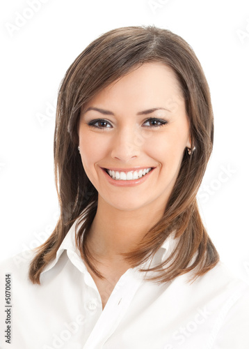 Portrait of young happy businesswoman, isolated
