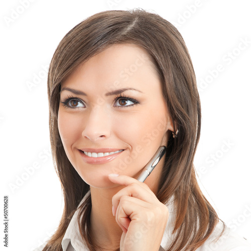 Portrait of thinking businesswoman, isolated