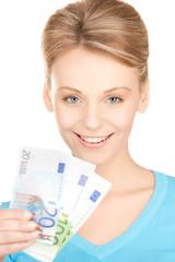 businesswoman with euro cash money