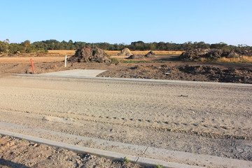 New road construction in realestate subdivision