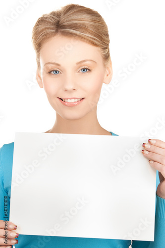 happy smiling woman with blank paper