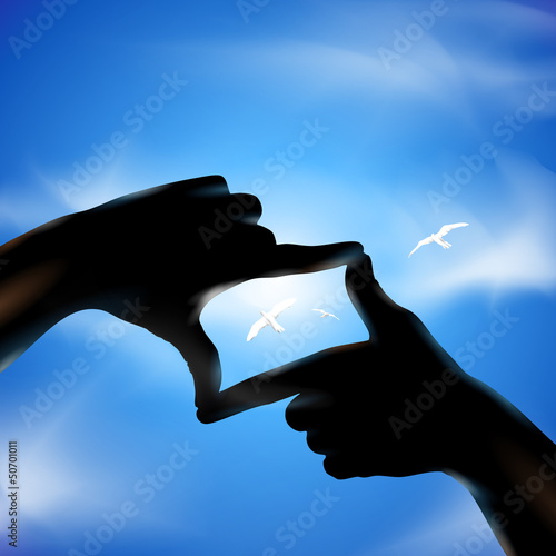 Hands and birds. Vector illustration