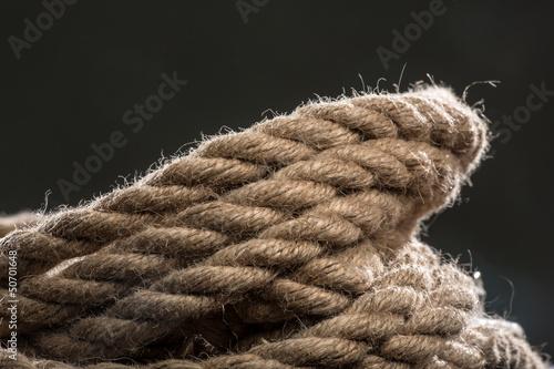 Hempen cord on a black background