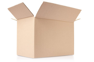 Open cardboard box, clipping path included