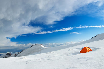 Tourist camp in the snowy mountains. Sport and active life