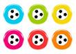 Iconos de colores de balones de fútbol