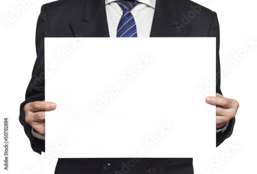 Businessman with a blank paper horisontal