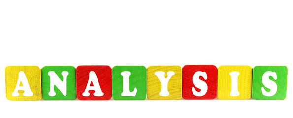 analysis - isolated text in wooden building blocks