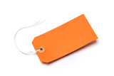 Orange luggage tag with shadow, isolated on a white background