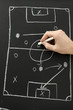 Hand draws a football play on a chalkboard